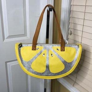 Betsey Johnson Lemon Wedge Beach Yellow Cooler NWT